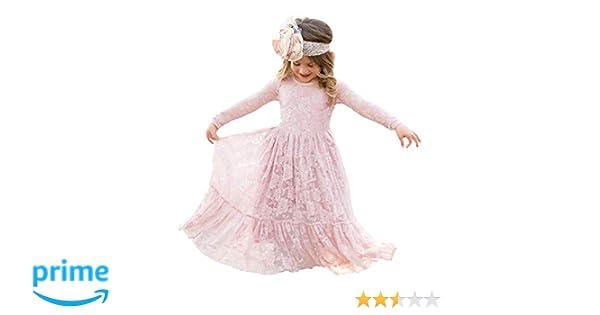 246b10e2a Amazon.com  Soo Angeles Girl Fancy Lace Long Princess Dress Flower ...