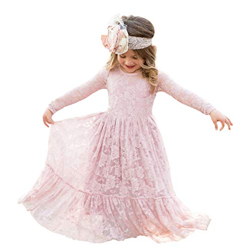 Soo Angeles Girl Fancy Lace Long Princess Dress Flower Girl Boho Rustic Wedding Party Birthday Gift Dance Ball Gown (Pink 5-6Y) ()