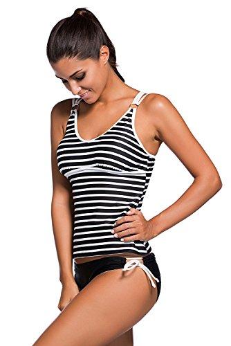 ILFtrend,Women 's Multi - Colored Stripe Swimwear Swimsuit Tankini Set de Dos Piezas(S-2XL) Color 1