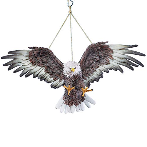 Collections Etc Swinging Hand-Painted Eagle Outdoor Figurine for Tree, Hook or Porch - Woodland Décor for Bird Lovers