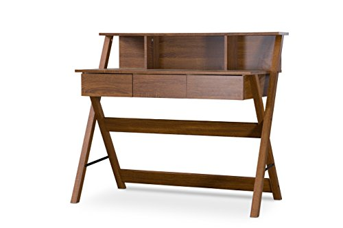 Baxton Studio Crossroads II Writing Desk - Contemporary writing desk Sonoma oak polyurethane-veneer finish Engineered wood construction - writing-desks, living-room-furniture, living-room - 418LcjfGhiL -