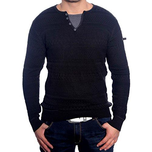R-Neal RN-3155 Herren Pullover V-Neck Pulli Sweatshirt Jacke Hoodie T-Shirt Neu, Größe:XL, Farbe:Schwarz
