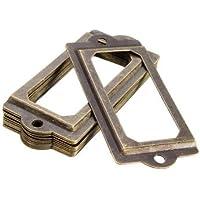 Hardware & Accessories Industrial Hardware - 12Pcs Antique Metal Label Pull Frame Handle File Name Card Holder For Cabinet Drawer Case - 12pcs brass label holders 24 screws