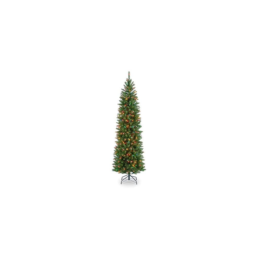 National-Tree-KW7-313-30-Kingswood-Fir-Wrapped-Pencil-Tree-with-50-Multi-Lights-3-Feet