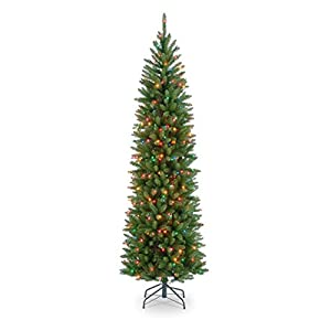 National Tree KW7-313-30 Kingswood Fir Wrapped Pencil Tree with 50 Multi Lights, 3-Feet 57