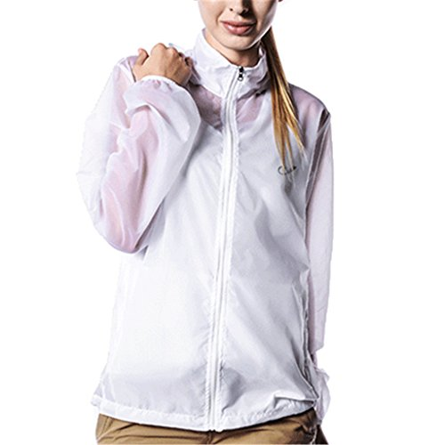 Kuer Unisex Nylon Ultrathin Breathable Waterproof Sports Windbreaker Skin Coat(White,XXL) by Kuer