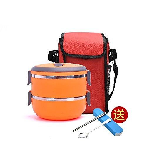 Luckyfree Mittagessen Behälter aus rostfreiem Stahl 304 mit Fächern Mikrowelle Bento Box für Studierende Erwachsene Kinder das Essen bei einem Picknick Behälter Edelstahl Doppel Orange + Tasche + Edelstahl Besteck