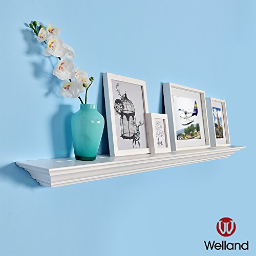 WELLAND Corona Emperor Molding Floating Wall Photo Ledge Shelves Fireplace Mantel Shelf (48-Inch, White)