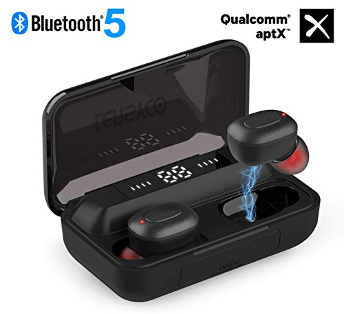 Lersyco Bluetooth Earbuds, TWS Wireless Headphones with Qualcomm aptX, Delivering Immersive Surround Experience, with Built-in Mic, Bluetooth 5.0, 120H Playtime with 2200mAh LED-Display Charging Case