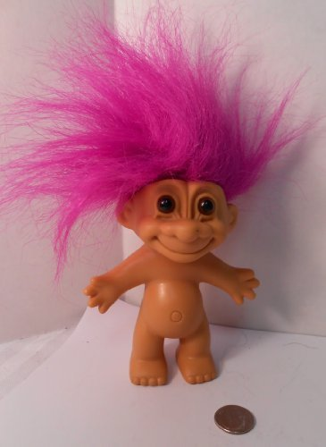 (Naked Troll Doll With Neon Purple Hair and Brown Eyes 6