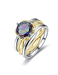 Merthus 925 Sterling Silver Created Mystic Rainbow Topaz Bow 2-Tone Infinity Promise Ring for Women