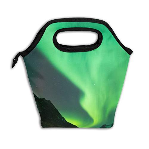 Lcokin Customized Aurora Borealis Wallpaper Insulated Lunch Bag Ice Bag Bag, Personal Handbag Shopping Bag