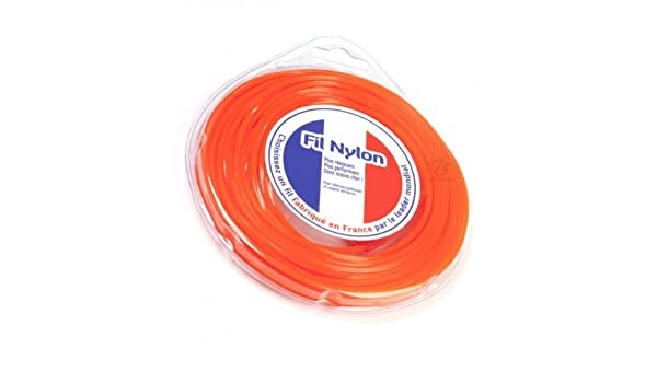 Hilo Desbrozadora Nylon 2,4 mm x 15 m. Cuadrado. Naranja. Blister ...