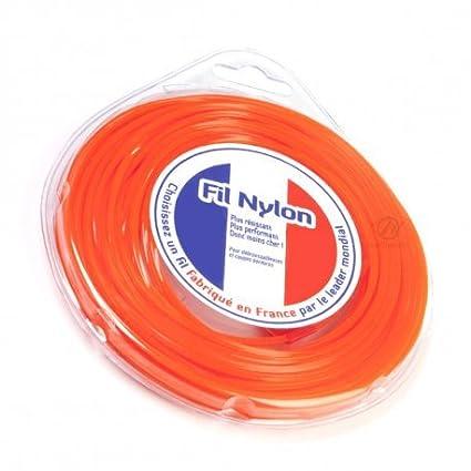 Hilo Desbrozadora Nylon 2,4 mm x 15 m. Cuadrado. Naranja ...