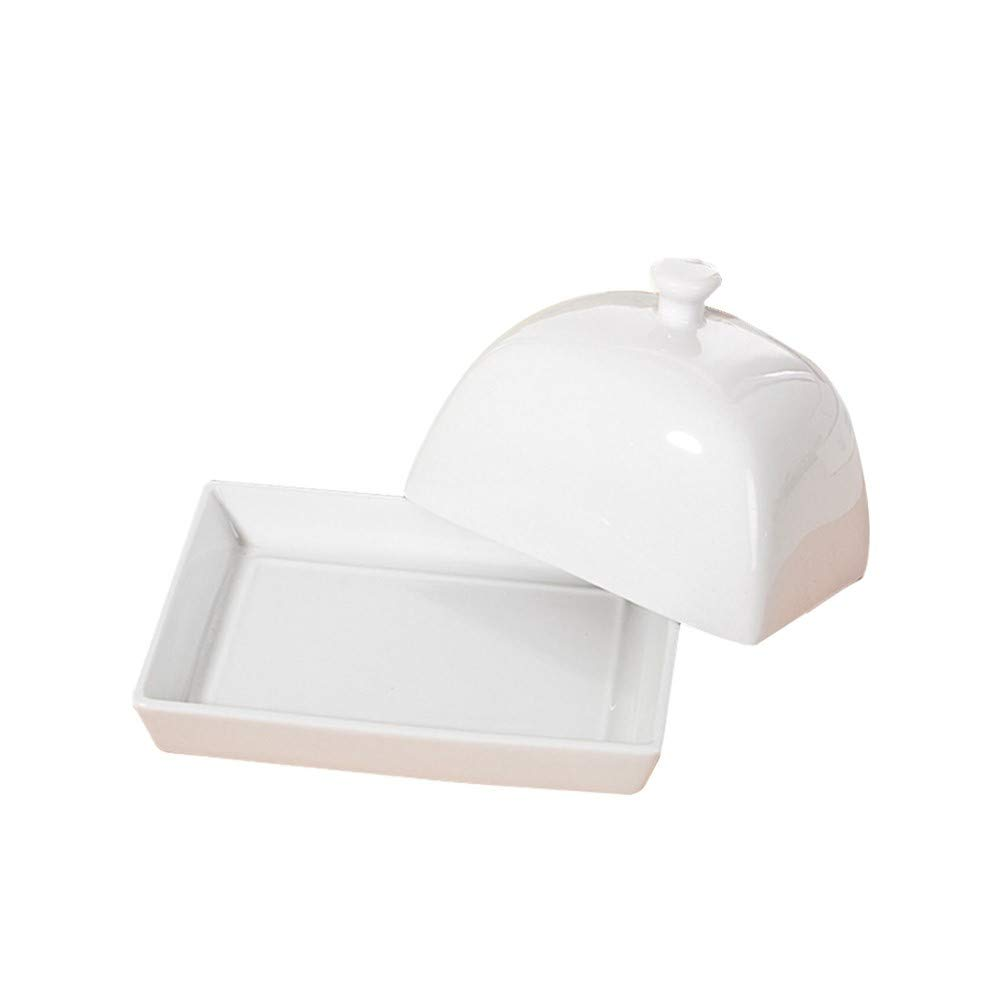 Large Butter Dish with Lid Porcelain Butter Keeper 5.7 Inch -Goes with Any Modern Decor(Cream White)