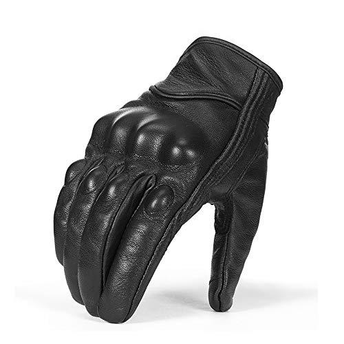Surpassme Leather Motorcycle Gloves Screen Touchable Goat Skin Full Finger Motocross Gloves for ATV Racing Outdoor -