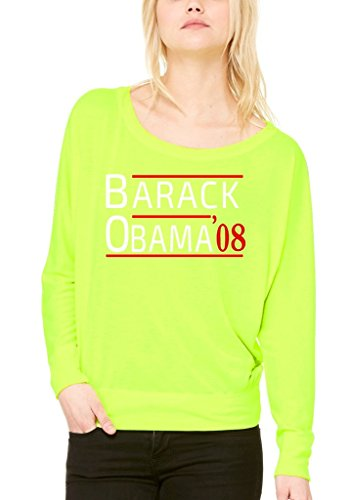 Shop4Ever Barack Obama '08 Off Shoulder Tee President Long SleeveX-Large Neon Yellow 0