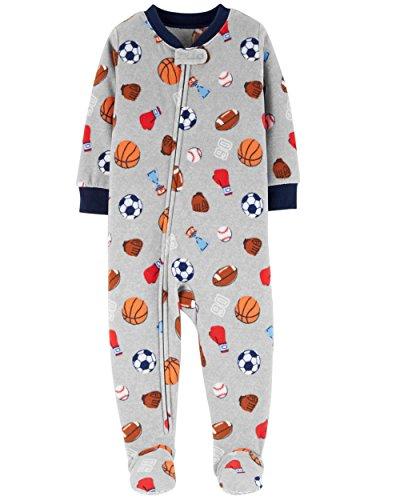 Carter's Baby Boy's 12M-5T One Piece Fleece Pajamas, Grey Sports, 3T