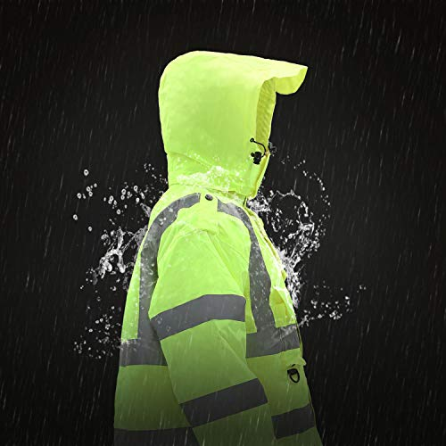 Holulo Waterproof 7-in-1 Reflective Class 3 Safety Parka Jacket with Zipper and Pockets Size XL by Holulo (Image #9)