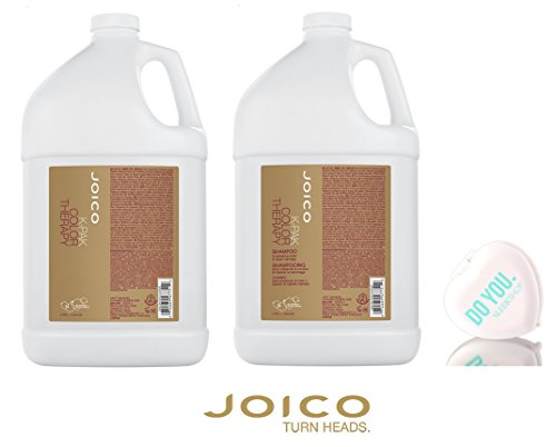 Joico K-Pak Color Therapy Shampoo & Conditioner DUO SET - to preserve color & repair damage (with Sleek Compact Mirror) (128 oz / Gallon Size Professional DUO (Color Conditioner Gallon)