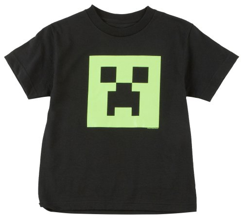 Minecraft Creeper Glow in the Dark Youth T-Shirt, Black Large