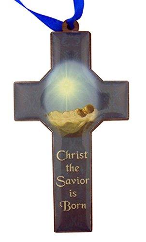 Christ the Savior is Born 4 1/4 Inch Wood Nativity Cross Christmas Tree (Christmas Tree Cross)