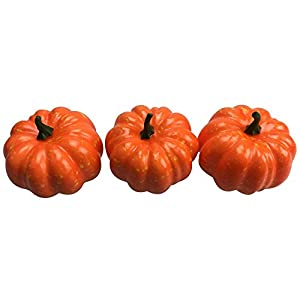 "Small Artificial Foam Fake Pumpkins Outdoor Decorations 3PCS, 3.35"" x 3.15"" by ZXSWEET 48"