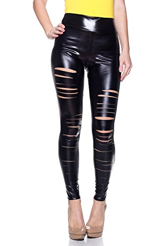 J2 LOVE Women's Faux Leather Ripped Legging, Small, Metallic (High Shine Leather)