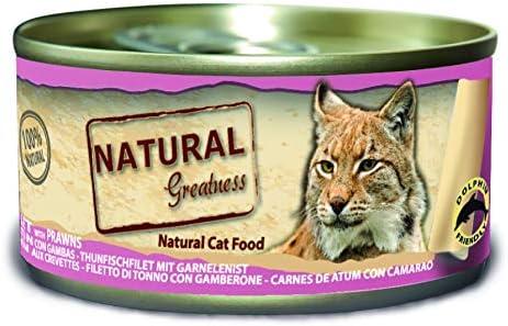 Comprar Natural Greatness Greatness Comida Húmeda para Gatos de Filete de Atún y Gambas. Pack de 24 Unidades. 70 gr Cada Lata