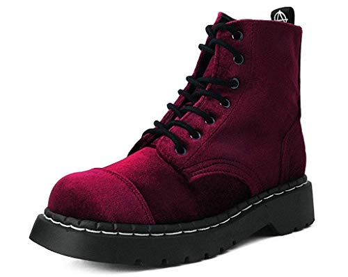 T.U.K. Shoes T2283 Womens Boots, Burgundy Velvet Anarchic Boot - US: Women 11 / Red/Fabric (Anarchic Boots)