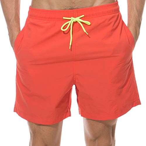 LANYI Men's Swim Trunks Quick Dry Beach Swim Shorts with Mesh Liner Bathing Suits (Orange, US L)