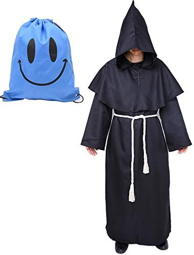 Mönch Robe Kostüm Mönch Priester Gewand Kostüm mit Kapuze Mittelalterliche Kapuze Herren Mönchskutte (X-Large, Schwarz)