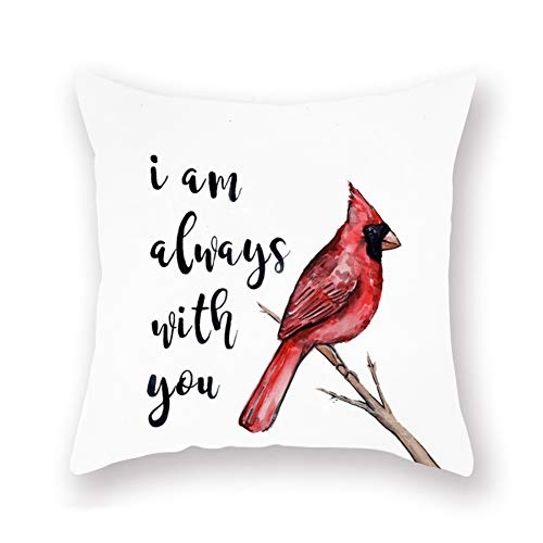 "Royalours Throw Pillow Covers Red Cardinal Bird Resting on The Tree Branch with I am Always with You Sweet Quote Decorative Pillow Covers Super Soft Square Pillowcase Cushion Cover 18"" x 18"" (Bird-4) from Royalours"