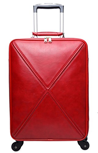 16 inch 20 inch 24inch Fashion Wheeled Rolling Tote travel suitcase Luggage Spinner Mobile Office for women girls 4 colors (Dark Red 20 - Wheeled 16 Tote