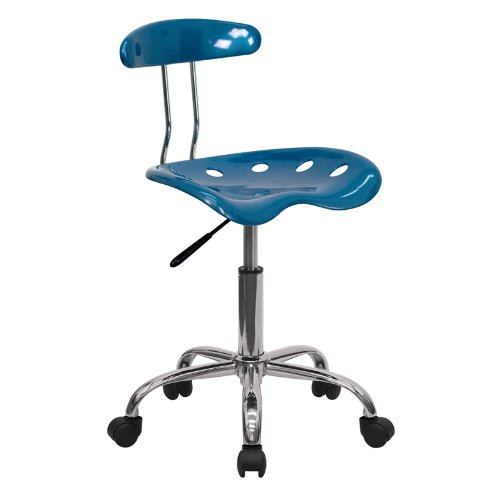 Flash Furniture Vibrant Bright Blue & Chrome Computer Task Chair With  Tractor Seat Lf-214-Brightblue-Gg LF-214-BRIGHTBLUE-GG