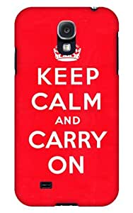 Case Fun Samsung Galaxy S4 (I9500) Case - Vogue Version - 3D Full Wrap - Red Keep Calm and Carry On
