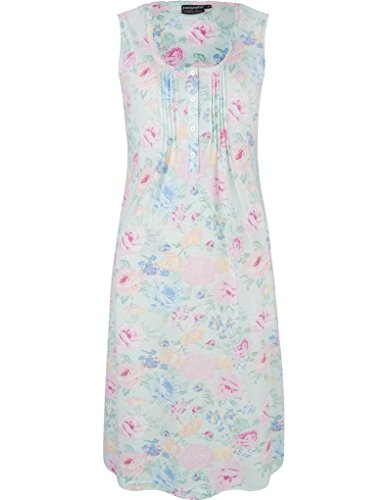 Pastunette 1071-326-1-503 Women's Pale Turquoise Blue and Pink Floral Print Cotton and Modal Night Gown Loungewear Nightdress