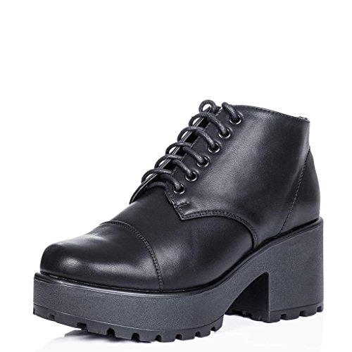 Cuero Plataforma Bloque de Negro con SPYLOVEBUY con Botines Tacón MARVELLOUS Sintético Botas Cordones qx0w4PTZ