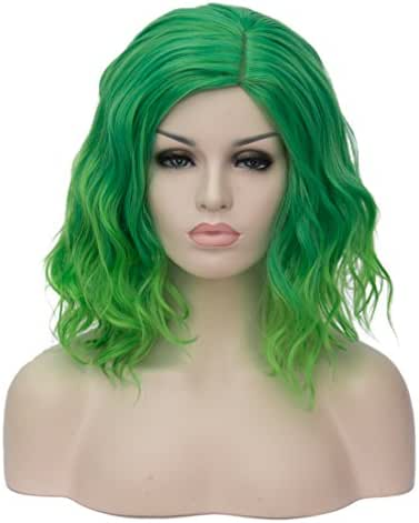 Mildiso Short Bob Wavy Curly Women Wigs Green Hair Cosplay Halloween Wigs with Wig Cap M004G
