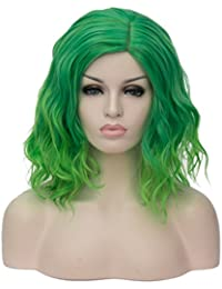 Short Bob Wavy Curly Women Wigs Green Hair Cosplay Halloween Wigs with Wig  Cap M004G 243a1fe4d