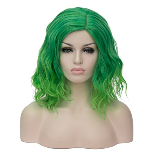 Mildiso Short Bob Wavy Curly Women Wigs Green Hair Cosplay Halloween Wigs with Wig Cap -