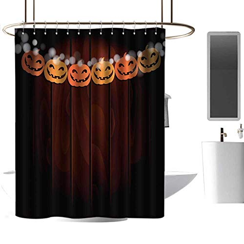 Shower Curtain with Hooks Halloween Greeting Card Invitation Party Decoration String of Paper Pumpkins goof Proof Shower W72 x -