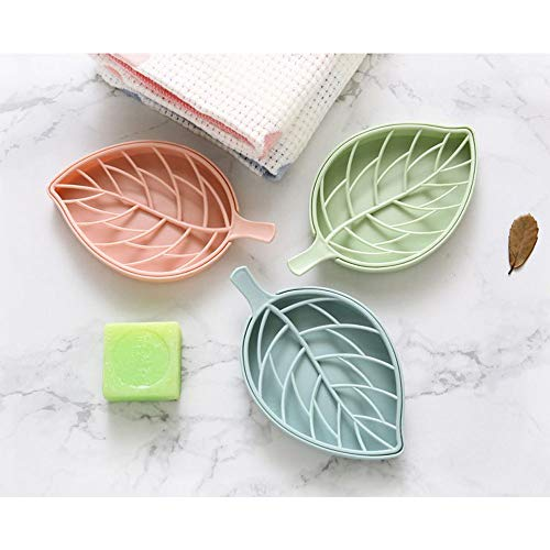 TAZANMA 2 Pack of Nordic Pink Soap Dish,Leaf-Shaped Soap Dish Holder with Draining Tray
