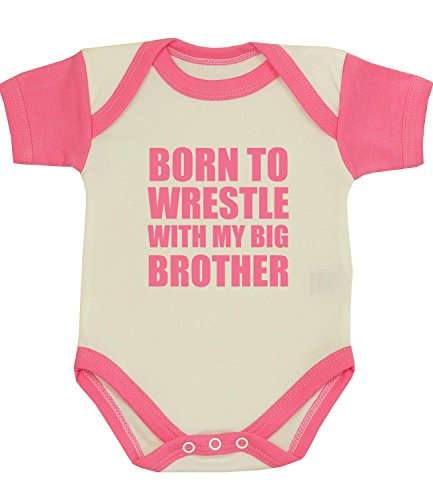 BabyPrem Baby Born to Wrestle with my Big Brother Clothes Bodysuit PINK 0-3 by BabyPrem