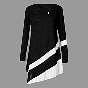 OWMEOT Women Casual Cuffed Long Sleeve V Neck Button up Color Block Stripes Blouse Tops S-5XL