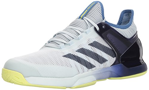 adidas Men's Adizero Ubersonic 2 Tennis Shoe, Blue Tint/Noble Ink/Semi Frozen Yellow, 8 M US (Semi Tint)