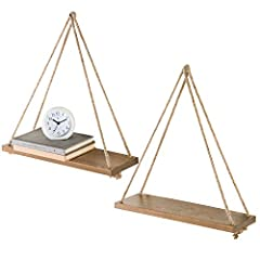 Both a striking decorative accent and display for collectibles or other decorative objects, these rustic wooden rope-hanging shelves provide a dramatic setting for favorite mementos and curios while defining a room's style. Featuring a simple...