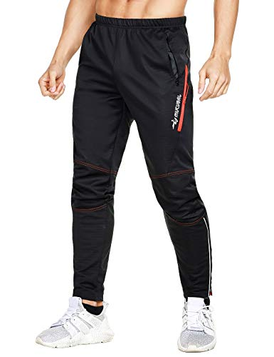 MUCUBAL Men's Winter Thermal Cycling Pants Windproof and Water-Resistant Bike Trousers for Outdoor Sports(Red,L)