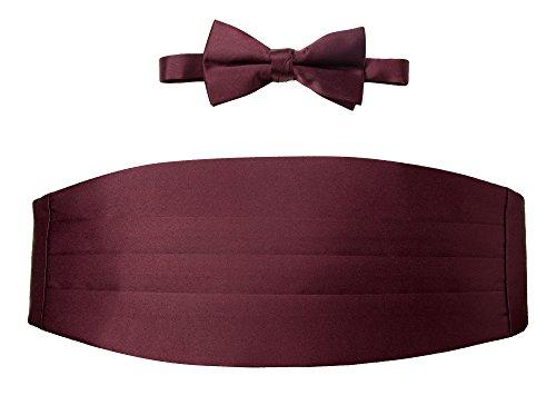 Spring Notion Men's Cummerbund and Bow Tie Set Dark Burgundy