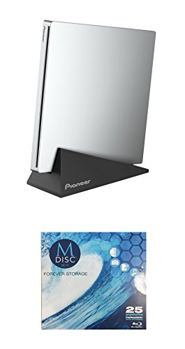 Pioneer 6x BDR-XU03 Slim Portable Blu-ray Burner Bundle with 1 Pack M-DISC BD - Supports USB 3.0, BDXL, BD, DVD, and CD Media (Silver, Retail Box)